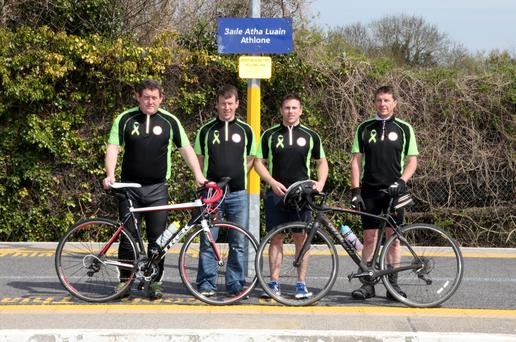 L-R Damien Milton, Aidan Slattery, Frank Carr and Michael McGlone at Athlone Station getting ready to participate in this year's Cycle Against Suicide