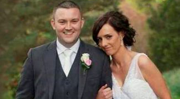 The late Shane Mulholland with his wife Vanessa Pic: Belfast Telegraph