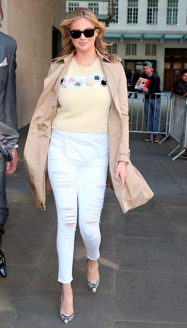 Kate Upton seen at BBC Radio One on April 27, 2015 in London, England. (Photo by Neil P. Mockford/GC Images)
