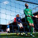 Manchester United's David De Gea reacts as Everton's John Stones (not in pictures scores his side's second goal during the Barclays Premier League match at Goodison Park