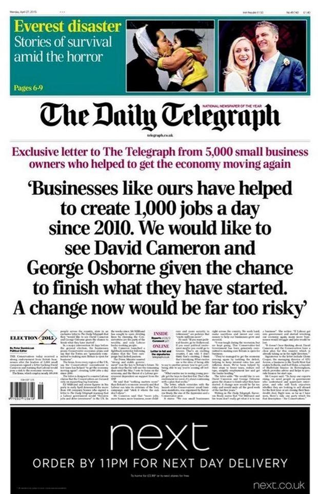Daily Telegraph front page revealing the 'CCHQ letter'