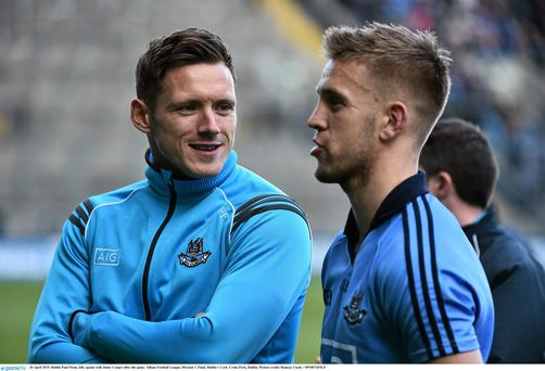 Dublin Paul Flynn, left, speaks with Jonny Cooper after the game. Allianz Football League, Division 1, Final, Dublin v Cork. Croke Park, Dublin. Picture credit: Ramsey Cardy / SPORTSFILE