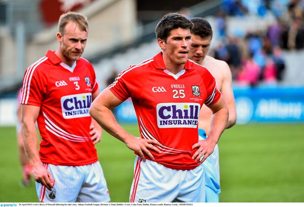 26 April 2015; Cork's Barry O'Driscoll following his side's loss. Allianz Football League, Division 1, Final, Dublin v Cork. Croke Park, Dublin. Picture credit: Ramsey Cardy / SPORTSFILE
