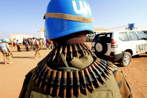 UN peacekeepers secure an area in South Darfur Credit: Ashraf Shazly / AFP