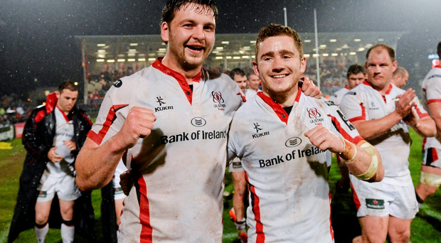Iain Henderson and Paddy Jackson, who are playing themselves into Ireland's World Cup plans, celebrate after beating Leinster last Friday
