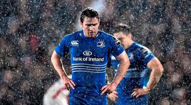 Eoin Redden stands dejected after Leinster's defeat to Ulster, a loss that has the former European champions looking over their shoulder (Sportsfile)