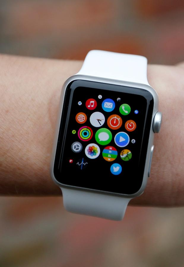 A person wearing the new Apple Watch