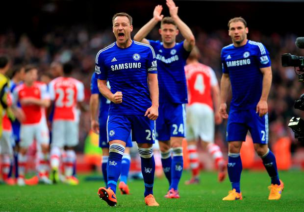 Chelsea's John Terry celebrates the draw after the game during the Barclays Premier League match at the Emirates Stadium, London (Nick Potts/PA Wire)