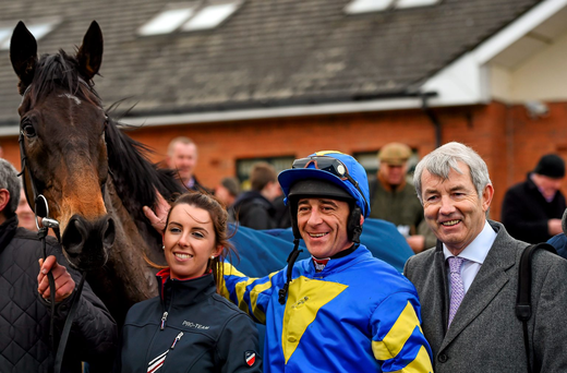 Davy Russell with Mallowney and his owner Michael Lowry TD at Fairyhouse