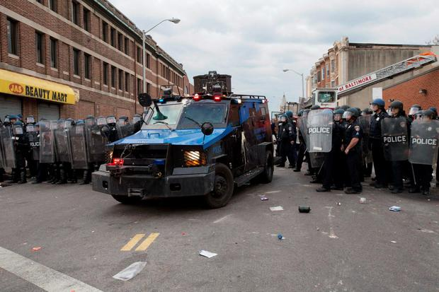 Police respond to protests of the death of Freddie Gray in Baltimore, Maryland. Photo: EPA