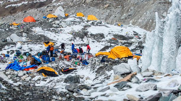 The Mount Everest south base camp in Nepal is seen a day after a huge earthquake-caused avalanche killed at least 17 people, in this photo courtesy of 6summitschallenge.com taken on April 26, 2015 and released on April 27, 2015. REUTERS/6summitschallenge.com