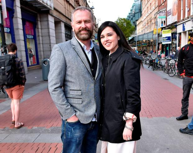 Daithi O'Se & wife Rita Talty spotted walking at the top of Grafton Street, Dublin