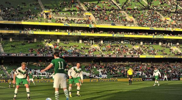 A general view of the spectators during the game between the Republic of Ireland and Northern Ireland. Carling Four Nations Tournament, Republic of Ireland v Northern Ireland, Aviva Stadium, Lansdowne Road, Dublin. Picture credit: David Maher / SPORTSFILE