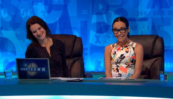 Rachel Riley with the word gobshite after special guest Myleene Klass came up with eight letter word in the Channel 4 show, Countdown. Photo: Channel 4/PA Wire