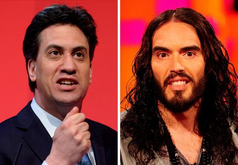Ed Miliband (left) and Russell Brand Photo credit: PA Wire