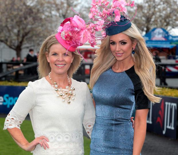 Marietta Doran and Rosanna Davison pictured at the Gold Fever Best Dressed Lady Competition at the opening of The Punchestown Festival