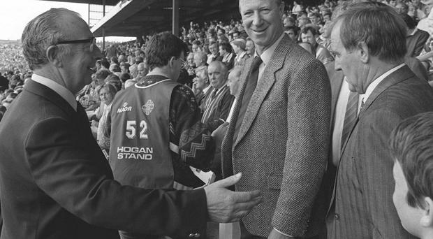 Jack Charlton and Maurice Setters are shown to their seats before the 1989 All-Ireland Hurling Final