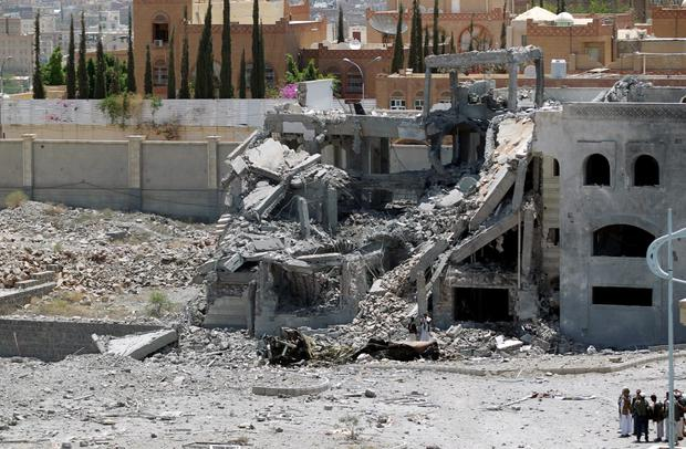 The destroyed property of the military commander of the Shiite-Huthi group Abdullah Yahya al-Hakim Credit: Mohammed Huwais