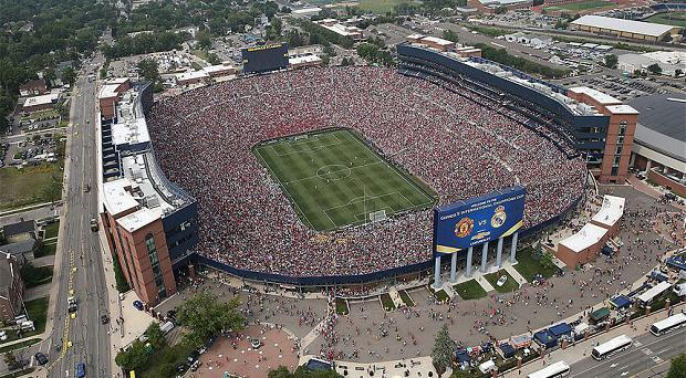 Demand: Over 109,000 crammed into the Michigan Stadium last year to watch Manchester United take on Real Madrid