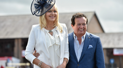 RTE presenters Miriam O'Callaghan and Marty Morrissey at the day's races. Punchestown Racecourse, Punchestown, Co. Kildare. Picture credit: Matt Browne / SPORTSFILE