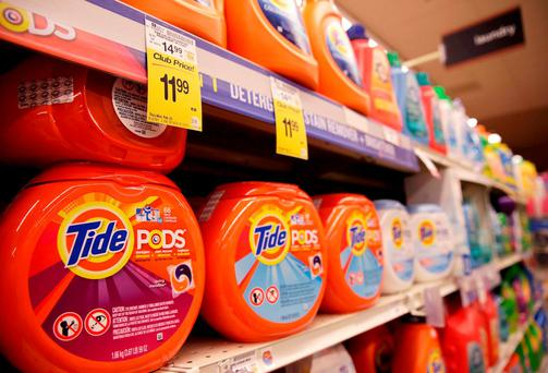 Tide detergent pods, from Procter & Gamble, are seen at the Safeway store in Wheaton, Maryland. Procter & Gamble sales fell for the fifth straight quarter as a stronger dollar took its toll. Photo: Reuters