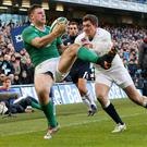 Robbie Henshaw, scoring his try against England, may be the only representative of the Six Nations champions to feature against the Barbarians