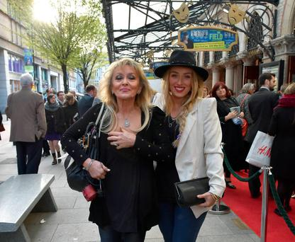 Adele King aka Twink and Chloe Agnew attend the opening night of The Field at The Gaiety Theatre