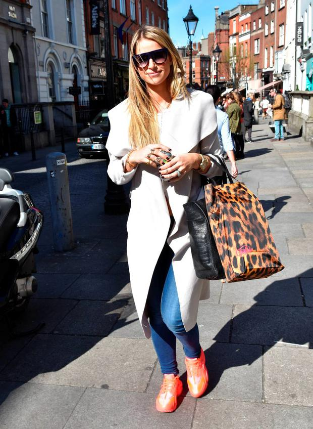 Vogue Williams seen on the steps of the Powerscourt Shopping Centre on South William Street