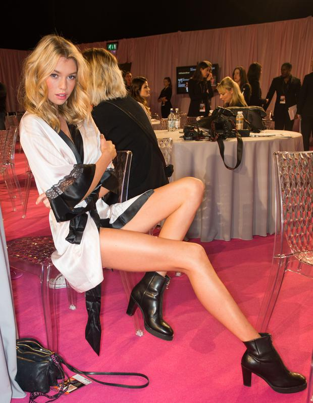 LONDON, ENGLAND - DECEMBER 02: Stella Maxwell poses backstage at the annual Victoria's Secret fashion show at Earls Court on December 2, 2014 in London, England. (Photo by Samir Hussein/Getty Images)