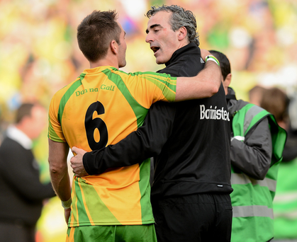 Jim McGuinness celebrates the 2012 All-Ireland Final victory over Mayo with Karl Lacey