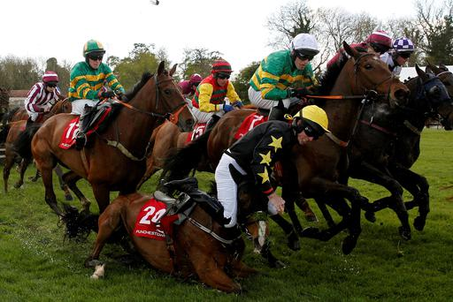 Waydownsouth and Matthew Bowes part company in yesterday's opener at Punchestown, bringing down favourite Oscar Knight