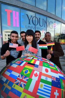 DCU Students Hamed Al Hadhrami, Ivan Chafardeth, Shou Han, Binesh Nair and Robins Mwanga at the 2015 THE Young Universities Summit in Dublin City University. Photo: Nick Bradshaw