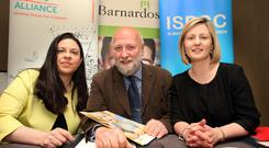 "Calling for a Yes vote in the marriage equality referendum were (l-r) Tanya Ward of the Children's Rights Alliance; Fergus Finlay of Barnardos; and Gráinne Long of the ISPCC. Mr Finlay said posters advocating a No vote contained ""sickening"" insults. Photo: Tom Burke"