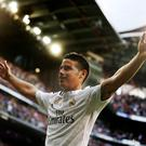 Real Madrid's James Rodriguez celebrates his stunning goal against Almeria