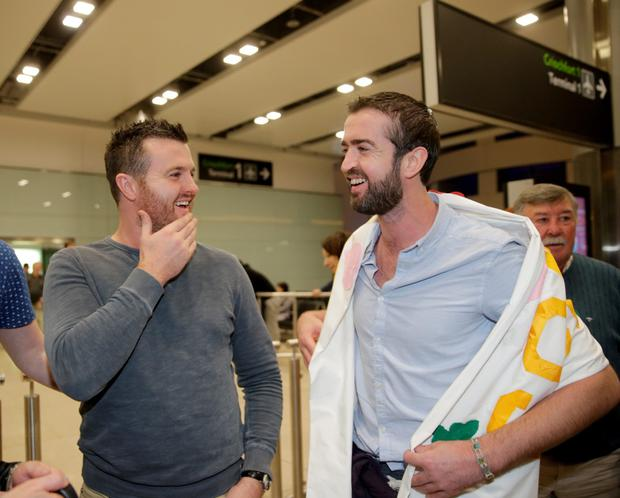 Patrick and Barry Lyttle at Dublin Airport after arriving home from Australia. Picture:Arthur Carron