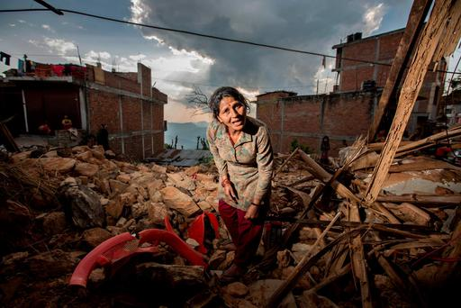 Phama Basnet who house was destroyed in the Nepal earthquake in the Gorkha district. Photo: Mark Condren