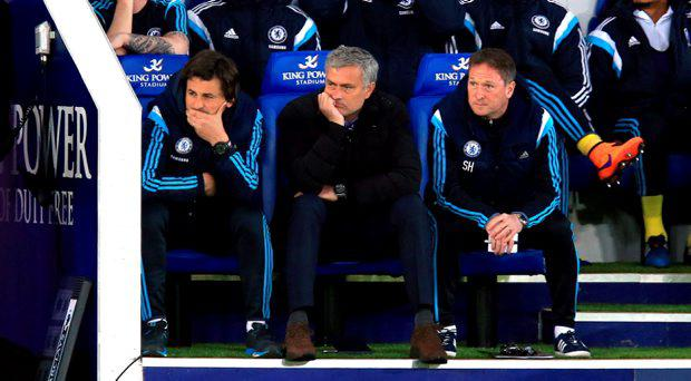 Chelsea Assistant first team coach Rui Faria (left), manager Jose Mourinho and Assistant first team coach Steve Holland (right) on the bench