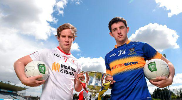 Colin O'Riordan, Tipperary U21 Football captain, was joined by his Tyrone counterpart Kieran McGeary in Parnell Park, Dublin, ahead of the EirGrid GAA Football U21 All-Ireland Final on Saturday, 2nd May