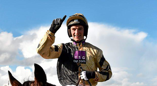 Patrick Mullins, on Bellshill, celebrates after winning the Attheraces.com Champion I.N.H. Flat Race. Punchestown Racecourse, Punchestown, Co. Kildare