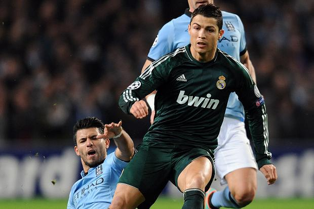 Manchester City striker in action against Cristiano Ronaldo in the Champions League