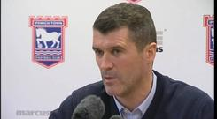 Roy Keane during his infamous rant as Ipswich Town manager