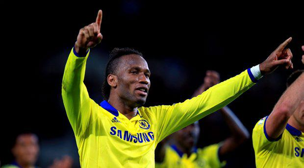 Chelsea's Didier Drogba celebrates after the Barclays Premier League match at The King Power Stadium, Leicester