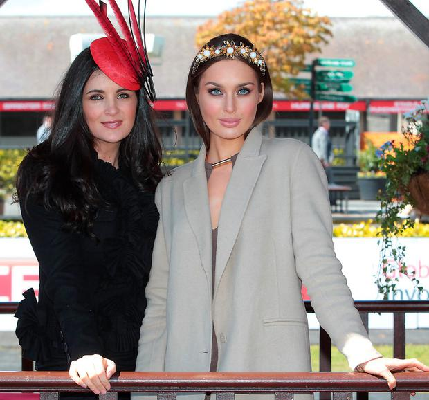 Rozanna Purcell and Andrea Roche judge Day 3 of the Gold Fever Best Dressed Lady at the opening of The Punchestown Festival.