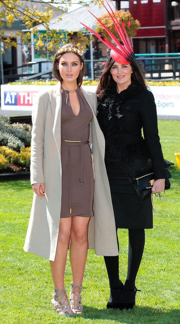 Rozanna Purcell and Andrea Roche judge Day 3 of the Gold Fever Best Dressed Lady at the opening of The Punchestown Festival
