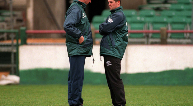 Jack Charlton has words with Roy Keane during an Irish training session in 1995. Keane revealed how the players would easily get around Chalton's instructions for the players to come home early on international week.