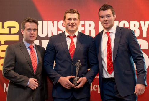 Geoff Lyons (Marketing Director INM) CJ Stander (Munster Player of the Year) and Peter O'Mahony