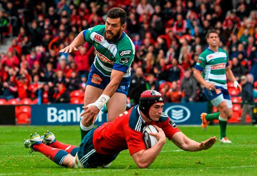 Tommy O'Donnell goes over to score Munster's third try during their victory against Treviso at Irish Independent Park last weekend