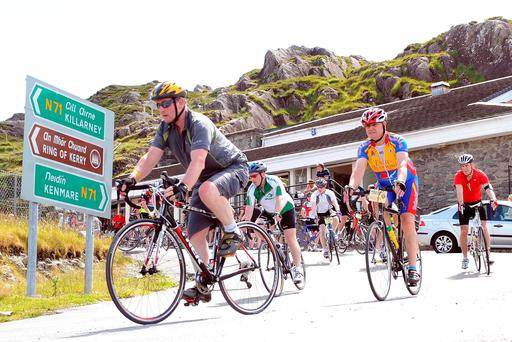 Enda Kenny passing through Molls Gap on the annual Ring of Kerry cycle