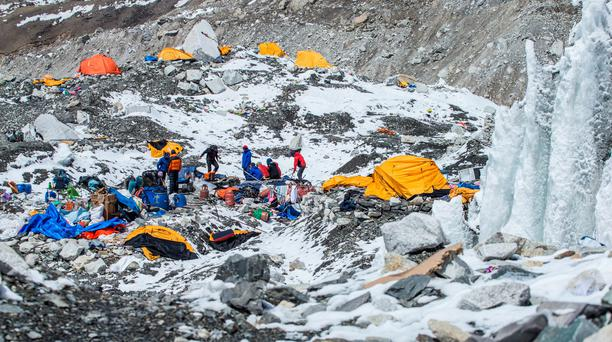 The Mount Everest south base camp in Nepal is seen the day after a huge earthquake-caused avalanche killed 19 people, as escue teams, helped by clear weather, used helicopters to airlift scores of people stranded at higher altitudes, two at a time (REUTERS)