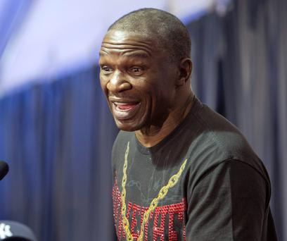 Floyd Mayweather Snr speaks at yesterday's press conference